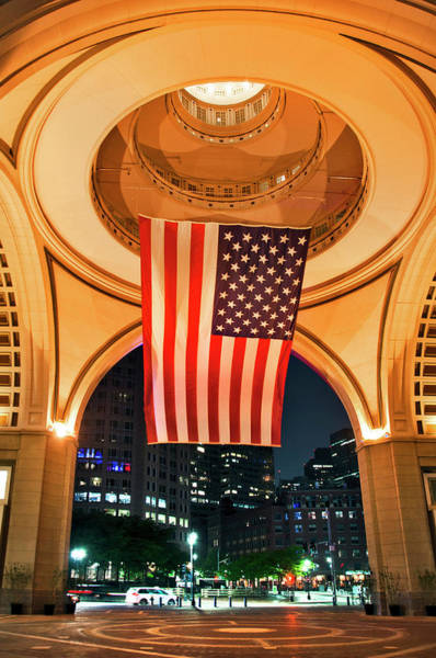 Photograph - Us Flag - Boston Harbor Hotel - Boston by Joann Vitali