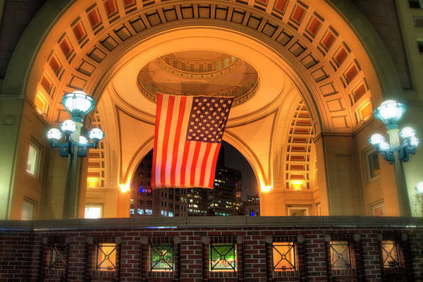 Photograph - Us Flag - Boston Harbor Hotel by Joann Vitali