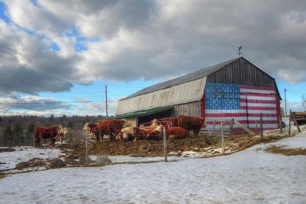 Photograph - Us Flag On Barn - Vermont Farm Scene by Joann Vitali