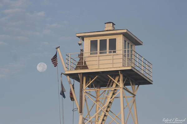 Photograph - Us Flag Waves At The Full Moon by Robert Banach