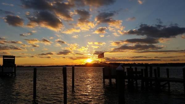 Photograph - Us Flag Waving At Sunset by Robert Banach