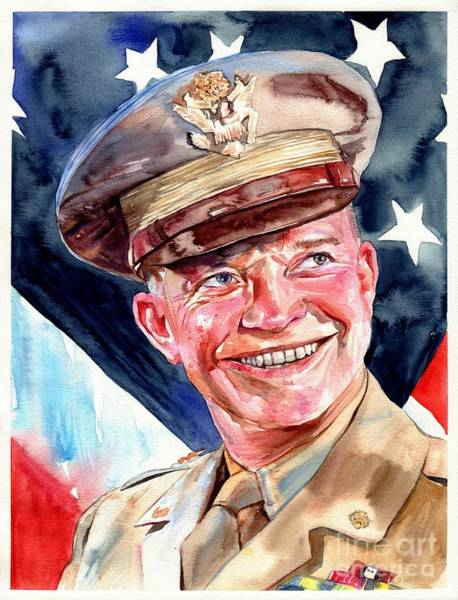 Arkansas Wall Art - Painting - Us General Dwight D. Eisenhower by Suzann Sines