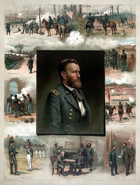 Civil War Wall Art - Painting - Us Grant's Career In Pictures by War Is Hell Store