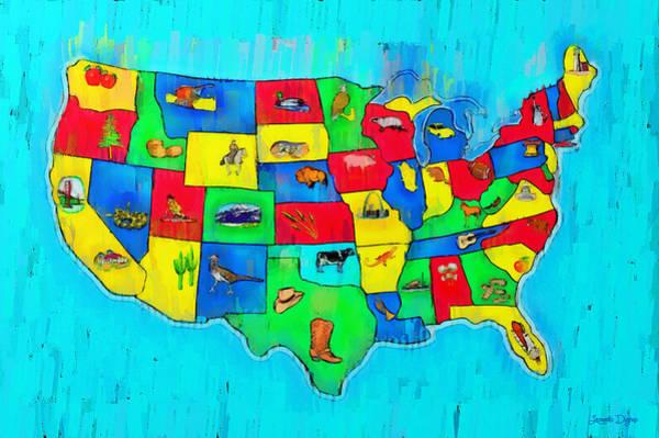 Capitalism Digital Art - Us Map With Theme  - Free Style -  - Da by Leonardo Digenio