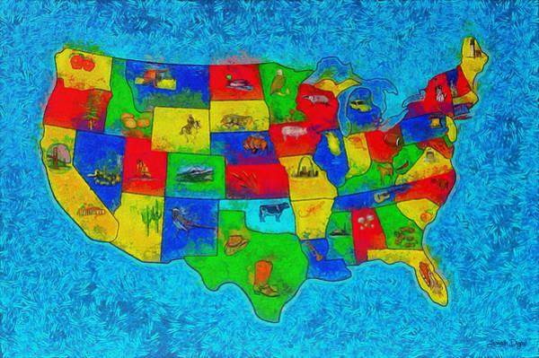 Capitalism Digital Art - Us Map With Theme  - Special Finishing -  - Da by Leonardo Digenio