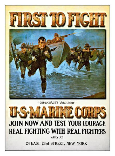 Digital Art - Us Marines Corps Poster by Carlos Diaz