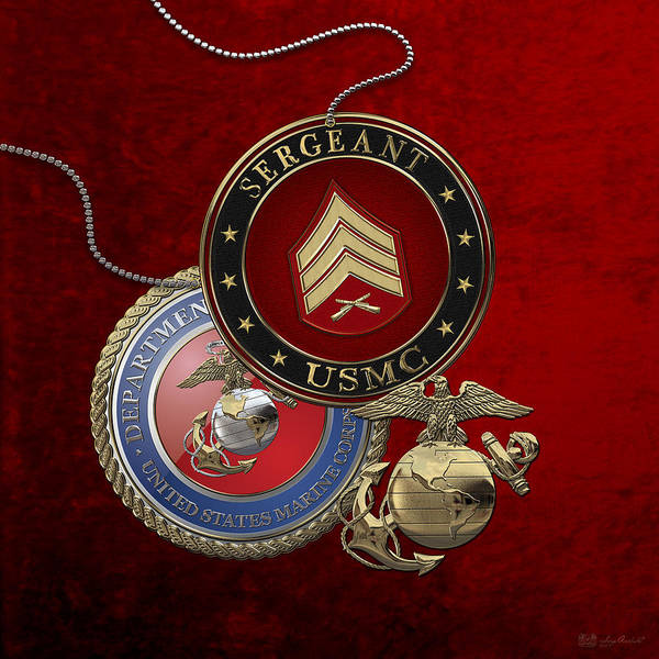 Digital Art - U. S. Marines Sergeant - U S M C  Sgt Rank Insignia Over Red Velvet by Serge Averbukh