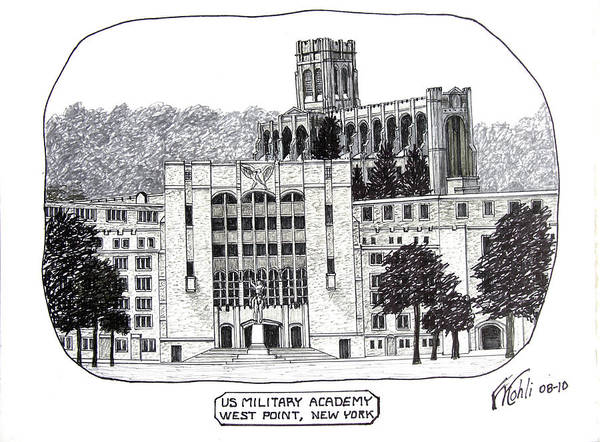 Wall Art - Drawing - Us Military Academy At West Point Ny by Frederic Kohli