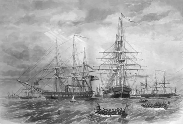 Cruiser Painting - U.s. Naval Fleet During The Civil War by War Is Hell Store