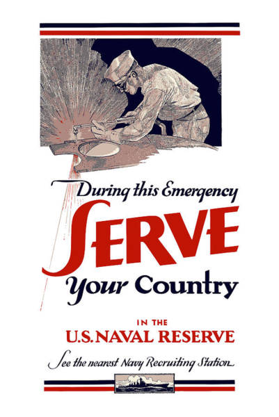 Naval Wall Art - Painting - Us Naval Reserve Serve Your Country by War Is Hell Store