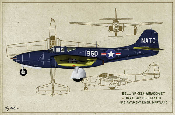 Wall Art - Digital Art - Us Navy Airacomet - Profile Art by Tommy Anderson