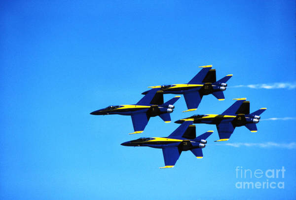 Photograph - Us Navy Blue Angels Flight Demonstration Team In Fa 18 Hornets by Thomas R Fletcher