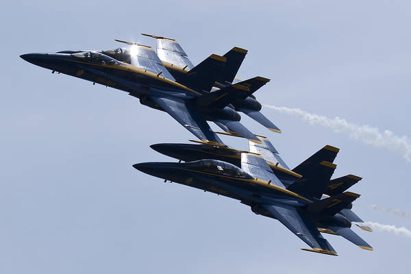Blue Angels Photograph - Us Navy Blue Angels In Formation by Dustin K Ryan