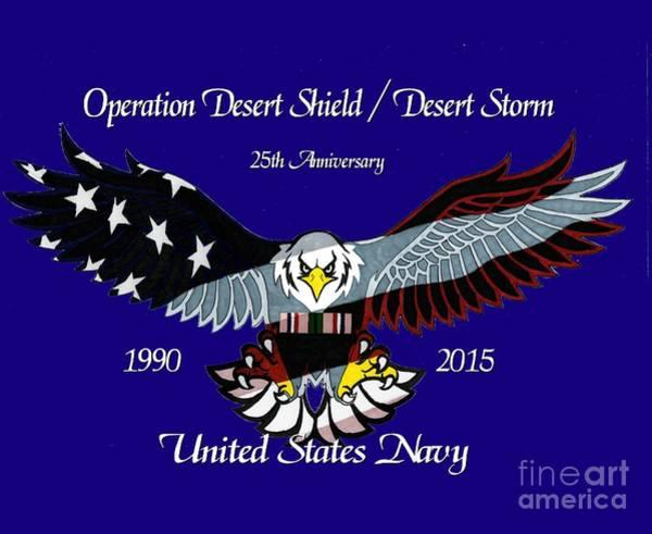 Drawing - Us Navy Desert Storm by Bill Richards