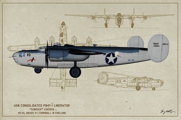 Wall Art - Digital Art - Us Navy Pb4y Liberator Profile by Tommy Anderson