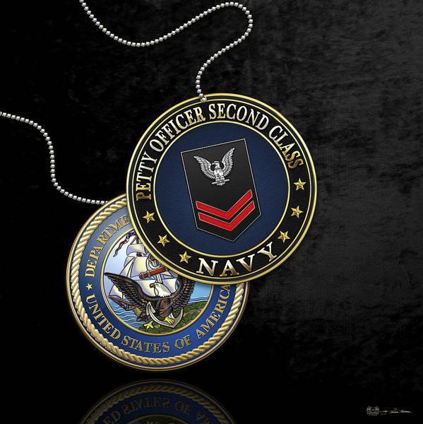 Digital Art - U.s. Navy Petty Officer Second Class - Po2 Rank Insignia Over Black Velvet by Serge Averbukh