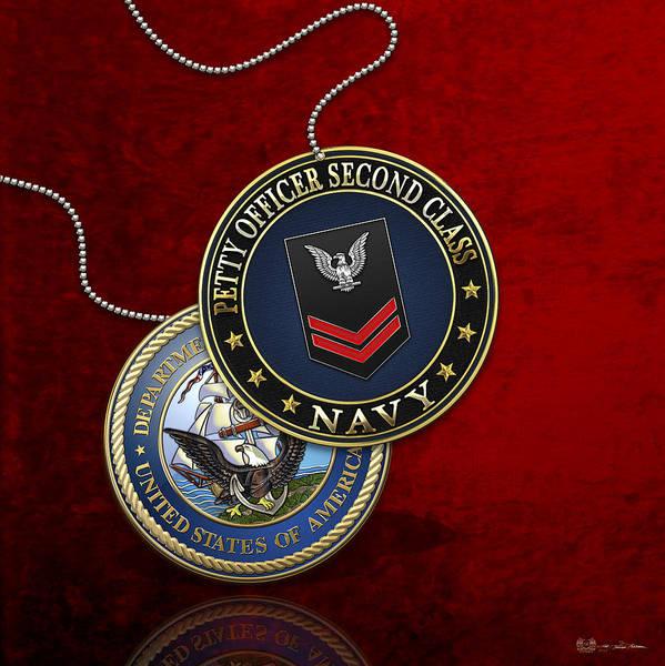 Digital Art - U.s. Navy Petty Officer Second Class - Po2 Rank Insignia Over Red Velvet by Serge Averbukh