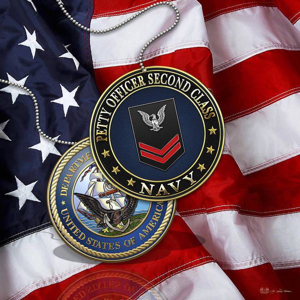 Digital Art - U.s. Navy Petty Officer Second Class - Po2 Rank Insignia Over Us Flag by Serge Averbukh