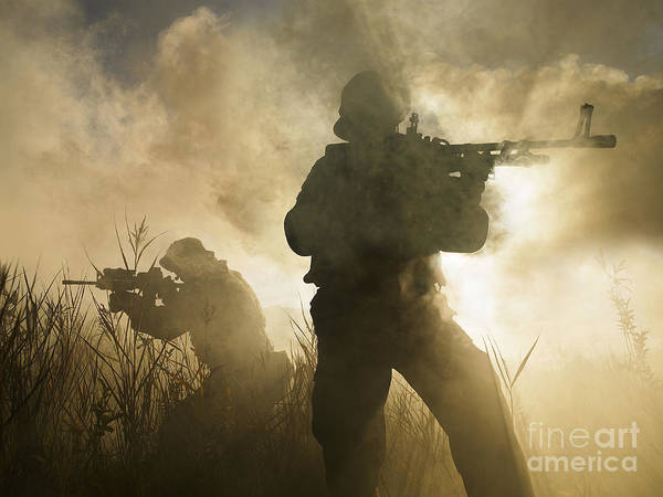 Navy Seal Photograph - U.s. Navy Seals During A Combat Scene by Tom Weber