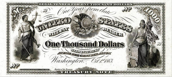 Digital Art - U.s. One Thousand Dollar Bill - 1863 $1000 Usd Treasury Note by Serge Averbukh