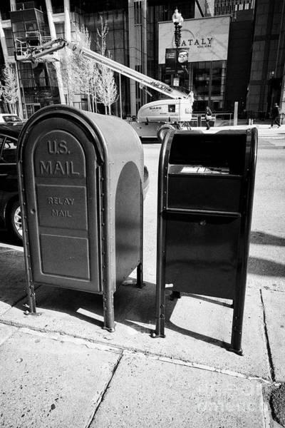 United States Postal Service Photograph - us postal service blue mailbox dropbox and grey relay mail box on sidewalk Boston USA by Joe Fox