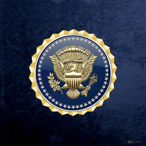 Digital Art -  Presidential Service Badge - P S B On Blue Velvet by Serge Averbukh