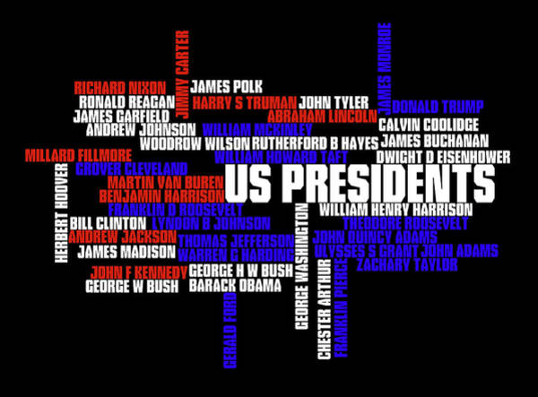 Wall Art - Digital Art - Us Presidents Typography by Ricky Barnard