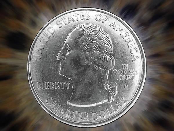 Legal Tender Photograph - Us Quarter Dollar by Kevin Felts