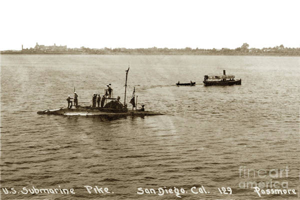 Photograph - U. S. Submarine Pike Off San Diego Calif. Lee Passmore Photo July 1910 by California Views Archives Mr Pat Hathaway Archives