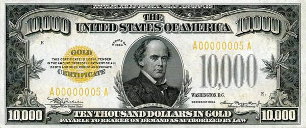 Digital Art - U.s. Ten Thousand Dollar Bill - 1934 $10000 Usd Treasury Note by Serge Averbukh