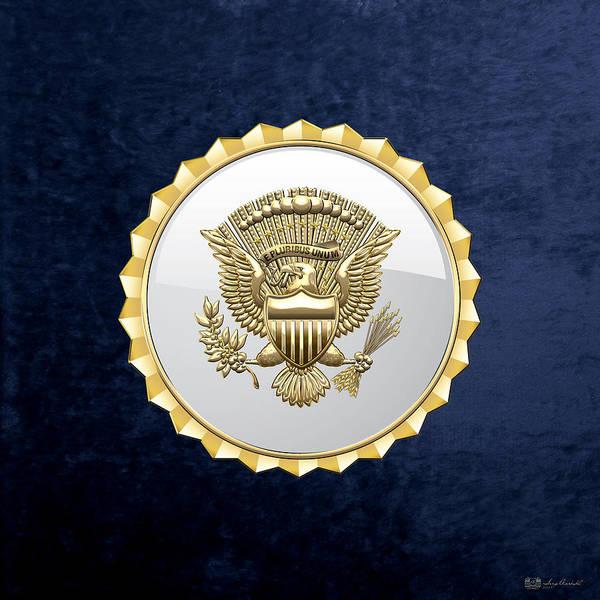 Digital Art - Vice Presidential Service Badge On Blue Velvet by Serge Averbukh