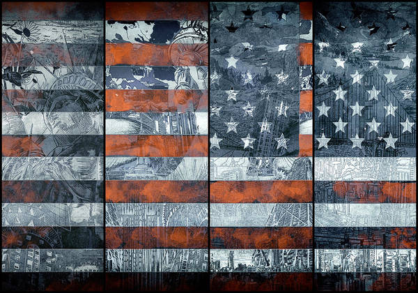 Wall Art - Painting - Usa Flag 12 by Bekim M