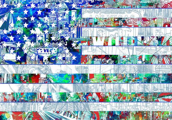 Wall Art - Painting - Usa Flag 14 by Bekim M