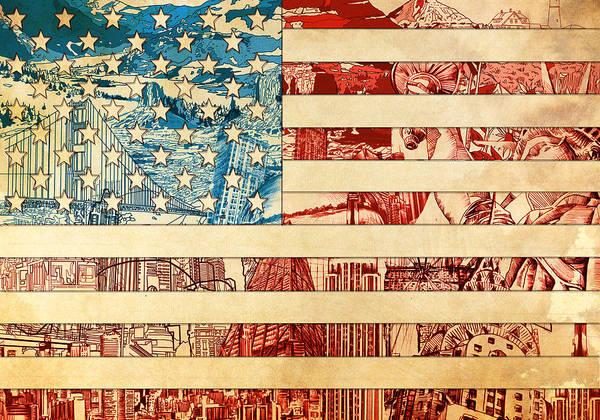 Wall Art - Painting - Usa Flag 2 by Bekim M