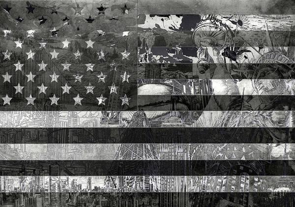 Wall Art - Painting - Usa Flag 4 by Bekim M
