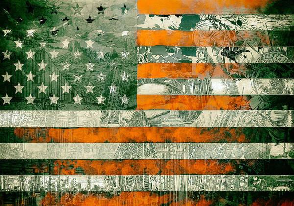 Wall Art - Painting - Usa Flag 5 by Bekim M