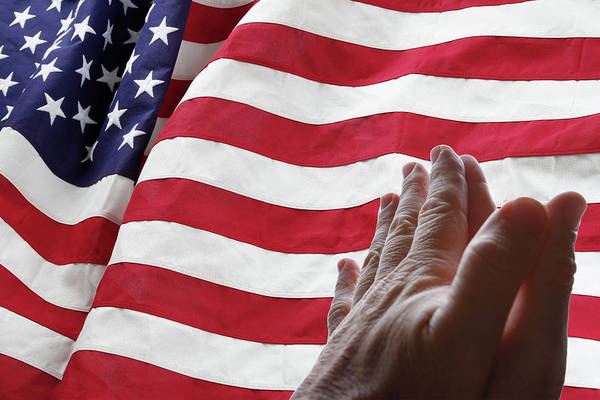 Wall Art - Photograph - Usa Flag And Prayer by Les Cunliffe