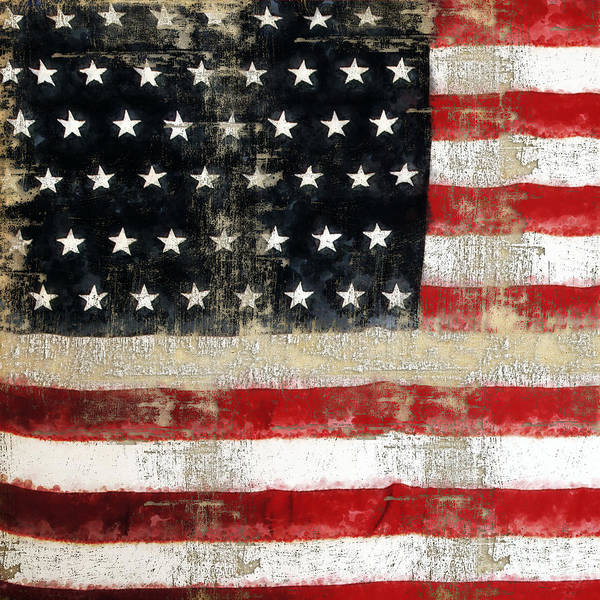 Painting - American Usa Flag Distressed  by Christina VanGinkel