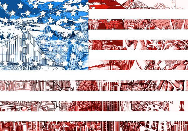Wall Art - Painting - Usa Flag by Bekim M