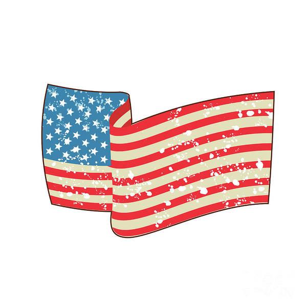 Grime Digital Art - Usa Flag Stars And Stripes Grunge Wavy Retro by Aloysius Patrimonio