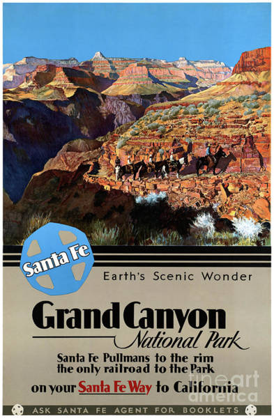 Wall Art - Mixed Media - Usa Grand Canyon Restored Vintage Travel Poster by Vintage Treasure