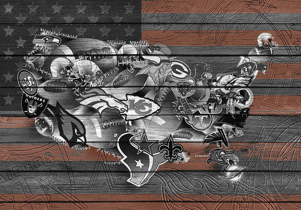 Stitch Painting - Usa Nfl Map Collage 4 by Bekim Art