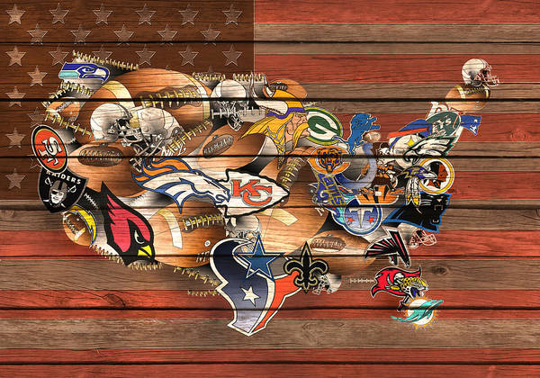 New York Jets Wall Art - Painting - Usa Nfl Map Collage 6 by Bekim M