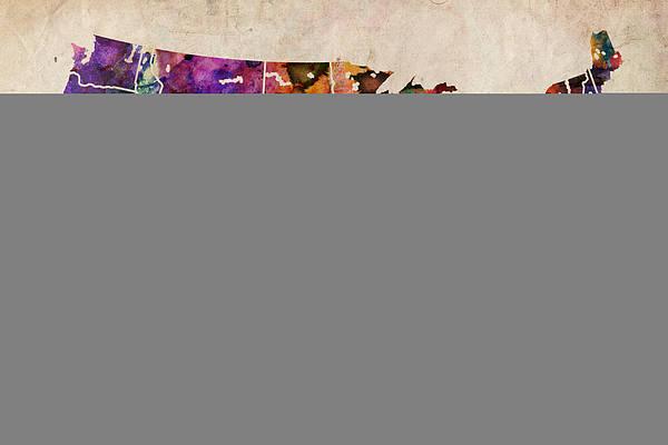 Watercolor Map Wall Art - Digital Art - Usa Watercolor Map by Michael Tompsett