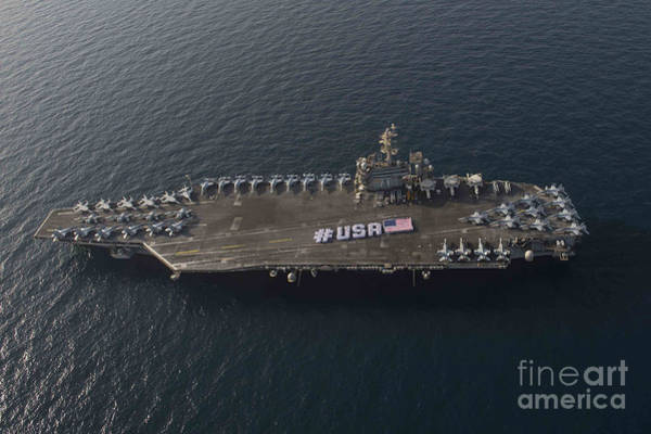 Flight Deck Painting - Usa With The American Flag On The Flight Deck by Celestial Images