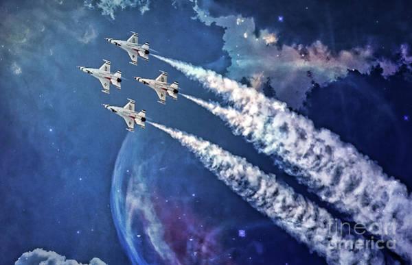 Digital Art - Usaf Thunderbirds Diamond Formation by Mary Lou Chmura