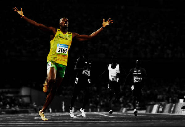 Speed Record Mixed Media - Usain Bolt Ahead Of The Pack by Brian Reaves