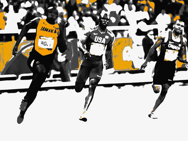 Speed Record Mixed Media - Usain Bolt Bringing It Home by Brian Reaves