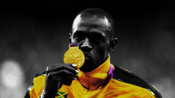 Speed Record Mixed Media - Usain Bolt Gold Medal by Brian Reaves