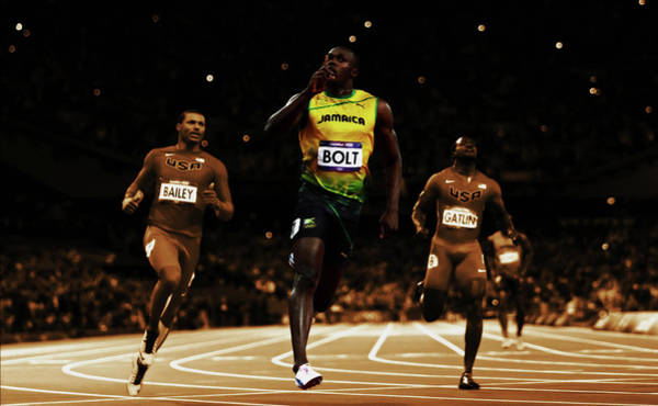 Speed Record Mixed Media - Usain Bolt Leading The Pack by Brian Reaves